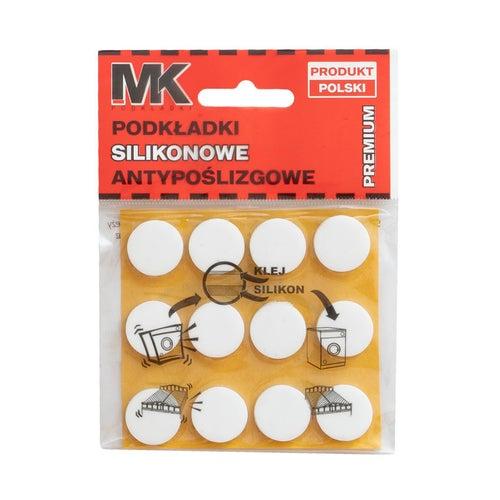 Podkładki antypoślizgowe silikonowe 18 mm białe 12 szt.
