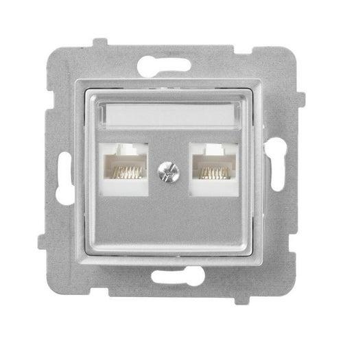 Polmark Rosa srebrny metalik gniazdo komputerowe 2xRJ45 kat 5