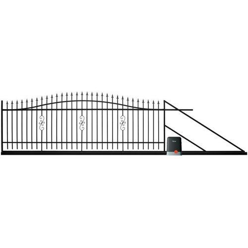 Brama przesuwna Volta czarna, 130-150x400 cm, prawa, z automatem do bram