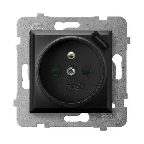 Ospel Aria czarny gniazdo pojedyncze z uziemieniem + USB