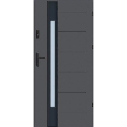 Drzwi wejściowe Lugano Nero 90 cm, prawe, antracyt