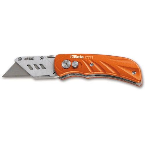 Nóż składany z wymiennym ostrzem trapezowym