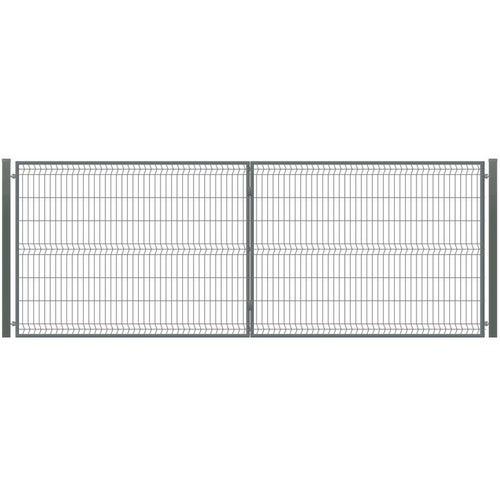 Brama ogrodzeniowa panelowa dwuskrzydłowa antracyt, 150x400 cm, komplet