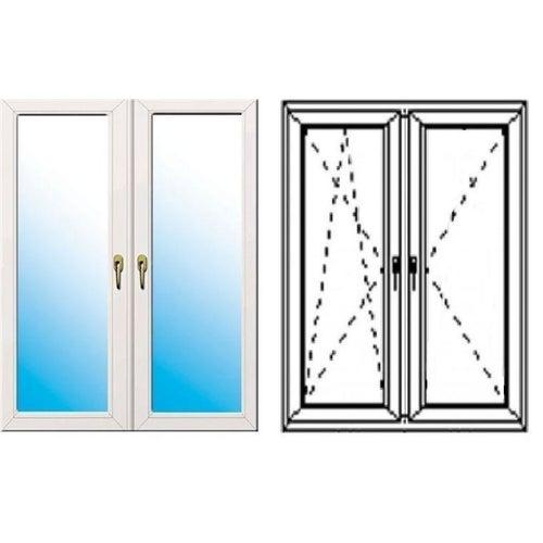 Okno fasadowe 2-szybowe  PCV O33A rozwierno-uchylne + rozwierne symetryczne lewe 1165x1435 mm białe