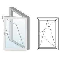 Okno fasadowe 2-szybowe  PCV O26 rozwierno-uchylne jednoskrzydłowe prawe 565x1435 mm białe
