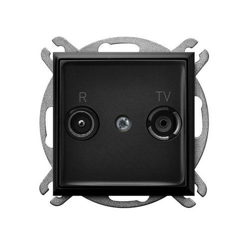 Ospel Aria czarny metalik gniazdo antenowe R-TV 14dB przelotowe