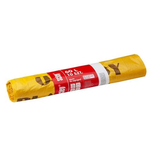 Worki do segregacji odpadów żółte 60l 10 sztuk