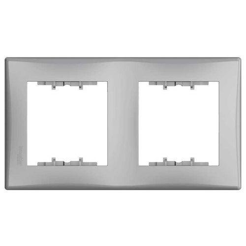 Schneider Sedna aluminium ramka podwójna pionowa