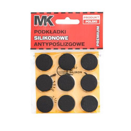 Podkładki antypoślizgowe silikonowe 22 mm czarne 9 szt.