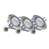 Zestaw oczek sufitowych Sun 3xGU10 + LED 3,5W 250lm 3000K srebrne szczotkowane