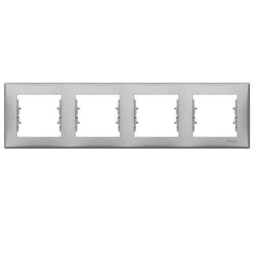 Schneider Sedna aluminium ramka poczwórna