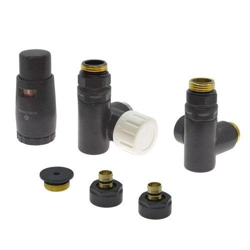Zestaw termostatyczny trójników do grzałki z korkiem i złączkami PEX, lewy, grafitowy