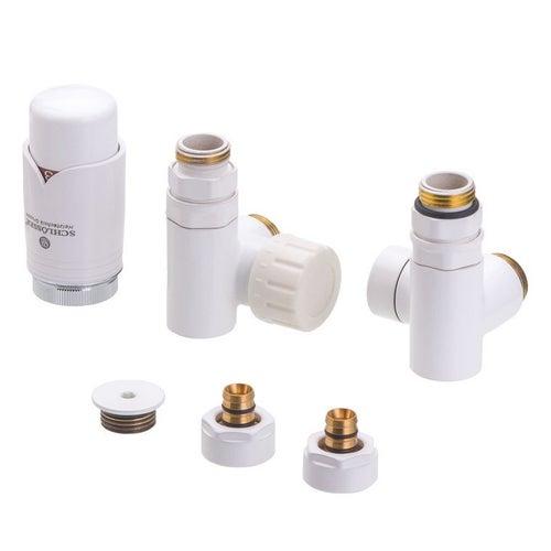 Zestaw termostatyczny trójników do grzałki z korkiem i złączkami PEX, lewy, biały