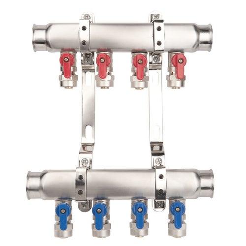 Zespół rozdzielaczy BASE INOX K2miniB 4-drogowy z zaworami mini pex/al.