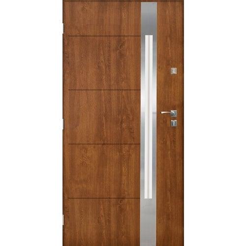 Drzwi zewnętrzne przeszklone Monachium 90 cm lewe inox złoty dąb