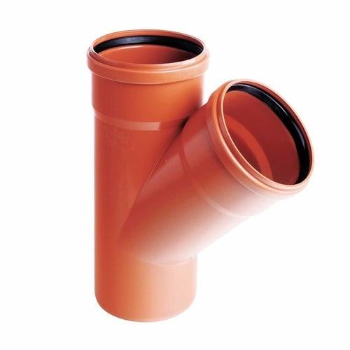 Trójnik kanalizacyjny zewnętrzny, PVC fi 110/110 mm, kąt 45°