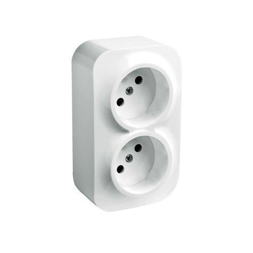 Forix biały gniazdo 2x2p ip20 natynkowe, IP20