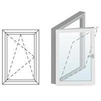 Okno fasadowe 2-szybowe  PCV O4 rozwierno-uchylne jednoskrzydłowe lewe 565x835 mm białe