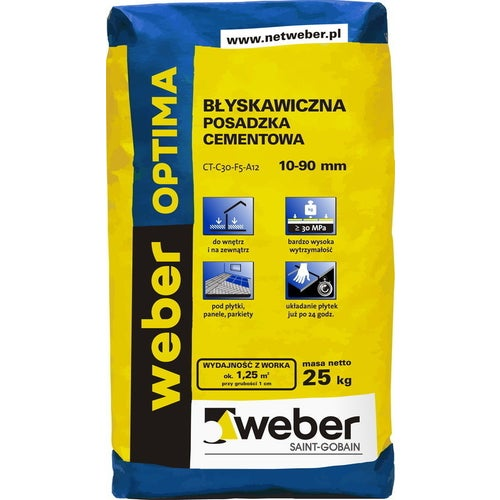 Posadzka cementowa Weber Optima, CT-C30-F5-A12 25 kg, błyskawiczna, 10-90 mm