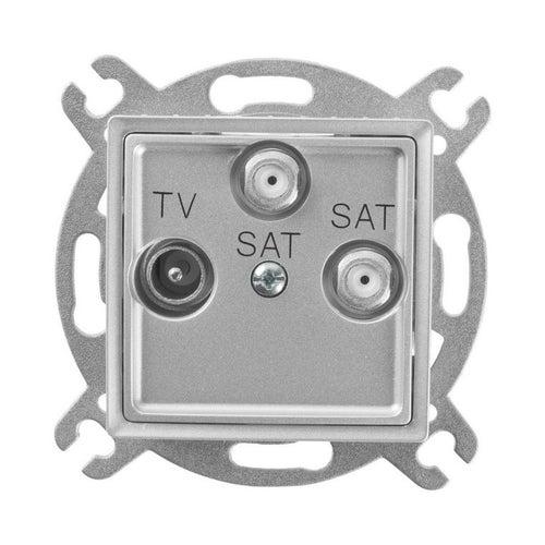 Polmark Rosa srebrny metalik gniazdo antenowe TV-2x SAT końcowe