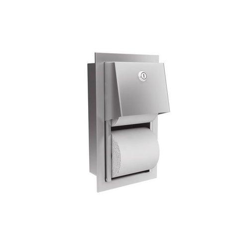 Wnękowy pojemnik na dwie rolki papieru toaletowgo Traditional, stal matowa 0031