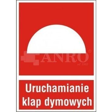 Znak informacyjny URZĄDZENIE DO URUCHAMIANIA KLAP DYMOWYCH 150X205 mm