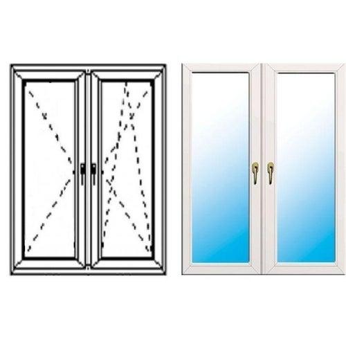 Okno fasadowe 2-szybowe  PCV O34S rozwierno-uchylne + rozwierne symetryczne prawe 1465x1435 mm białe