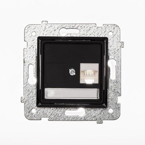 Polmark Rosa czarny mat gniazdo komputerowe 1xRJ45 kat 5