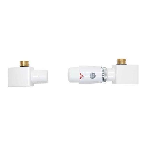 Zestaw termostatyczny Retto, osiowy prawy, ze złączkami Pex, biały