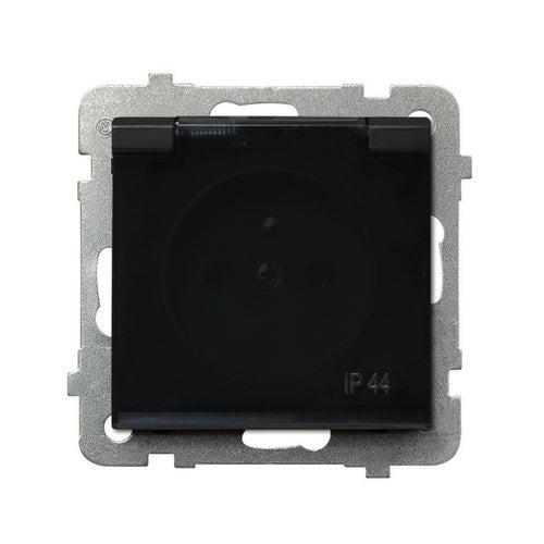 Ospel Sonata Czarny gniazdo gniazdo podwójne z uziemieniem IP44