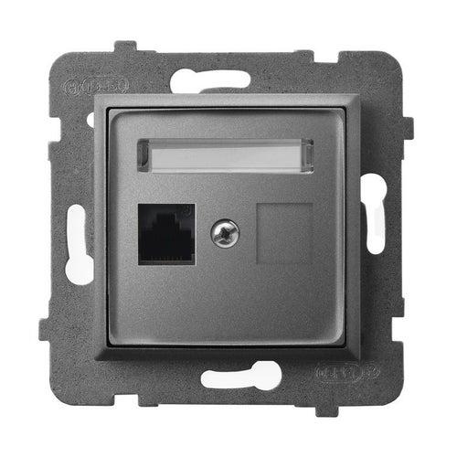 Ospel Aria szary mat gniazdo komputerowe 1xRJ45 kat 5