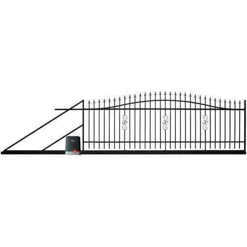 Brama przesuwna Volta czarna, 130-150x400 cm, lewa, z automatem do bram