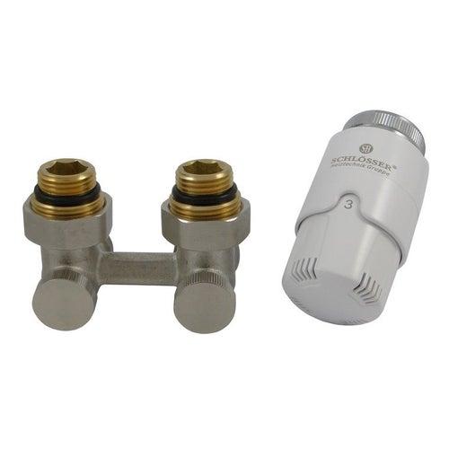 Zestaw termostatyczny prosty z głowicą i nyplami