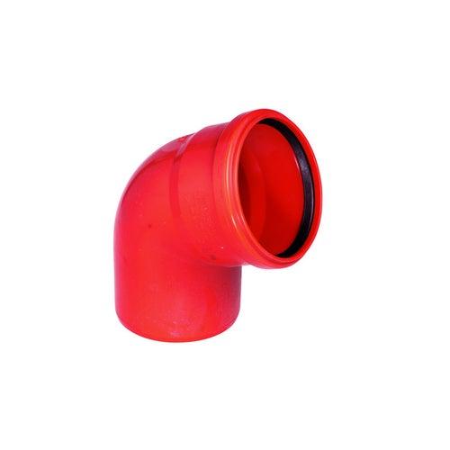 Kolano kanalizacyjne zewnętrzne, PVC fi 110 mm, kąt 67°