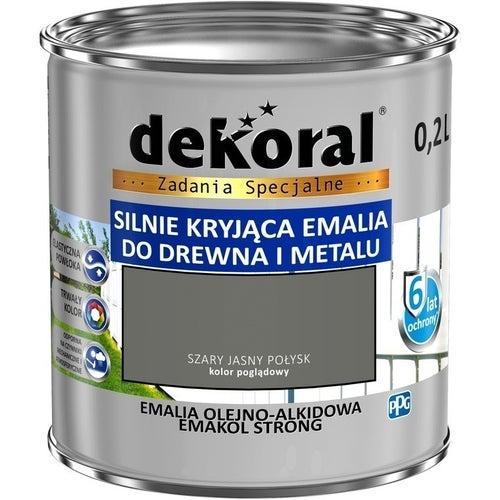 Emalia olejno-alkidowa Dekoral Emakol Strong szary jasny 0,2l
