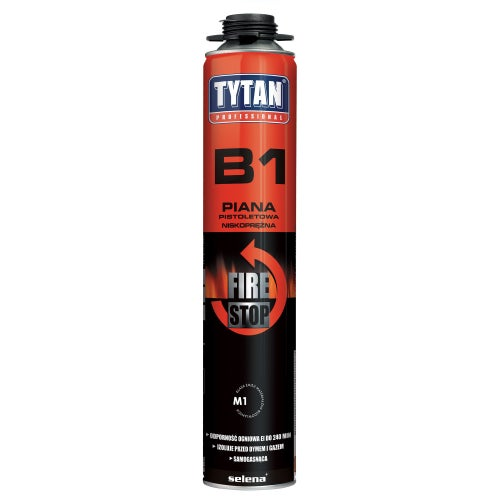 Piana poliuretanowa montażowa Tytan Fire B1 750 ml, pistoletowa