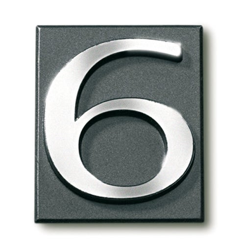 Cyfra 6 samoprzylepna grafit 4x4.7 cm