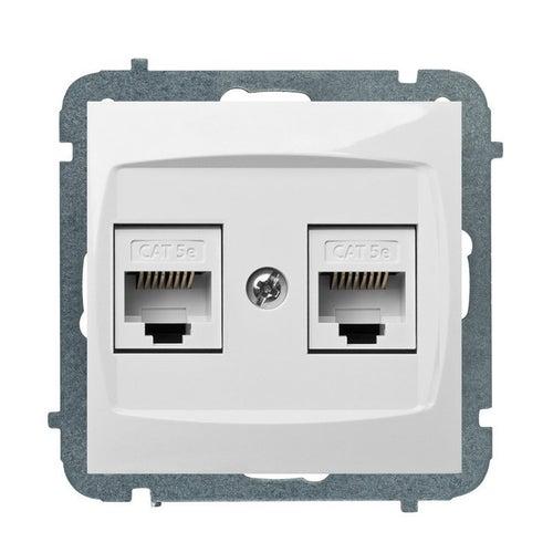 Elektroplast Carla biała gniazdo komputerowe 2xRJ45 kat 5