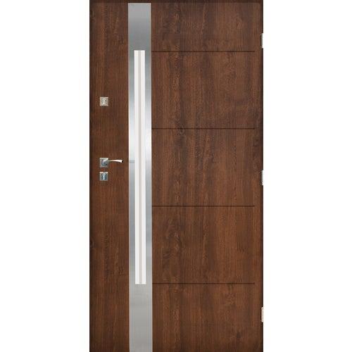 Drzwi zewnętrzne przeszklone Monachium 90 cm prawe inox orzech