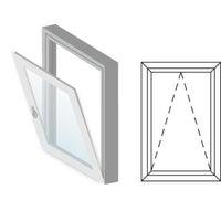 Okno fasadowe 2-szybowe  PCV O2 uchylne jednoskrzydłowe 865x535 mm białe