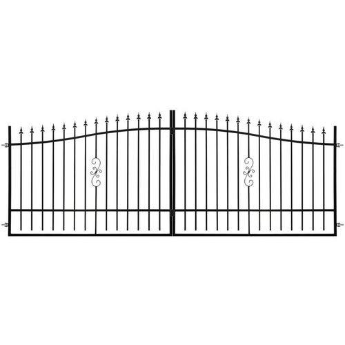 Brama ogrodzeniowa dwuskrzydłowa Volta czarna, 130-150x400 cm