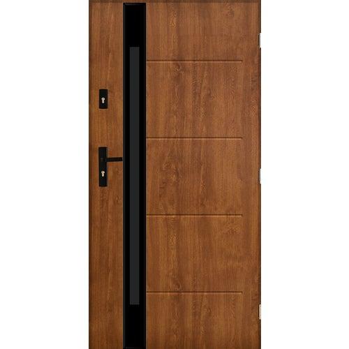 Drzwi zewnętrzne przeszklone Rzym 90 cm lewe złoty dąb