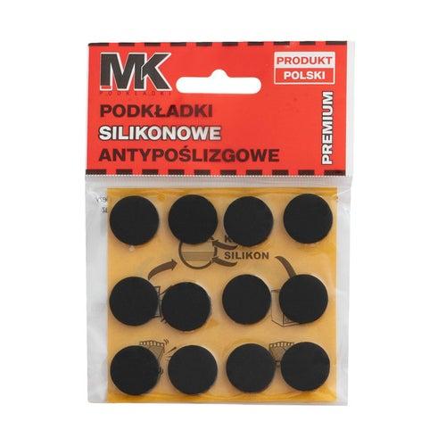 Podkładki antypoślizgowe silikonowe 18 mm czarne 12 szt.