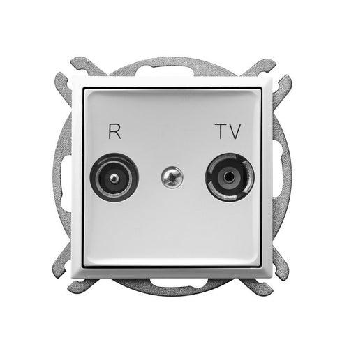 Ospel Aria biały gniazdo antenowe R-TV przelotowe