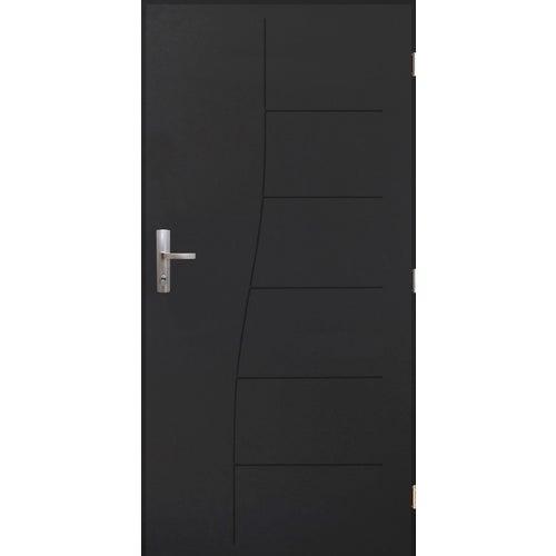 Drzwi zewnętrzne pełne antywłamaniowe Turyn 80 cm prawe antracyt