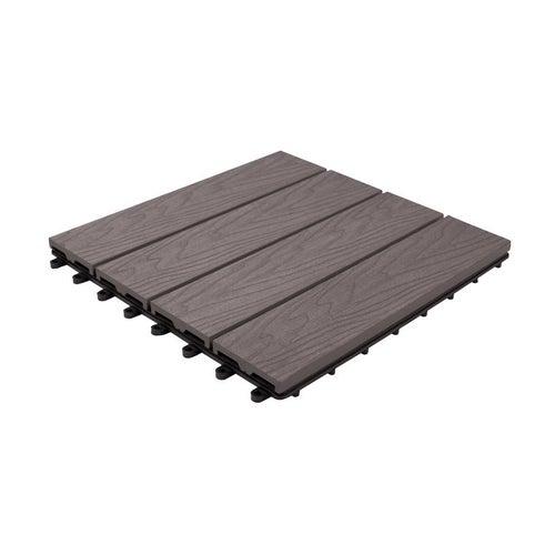 Podest tarasowy, kompozytowy, 4-lamelowy, wym. 300x300 mm, struktura drewna, szary