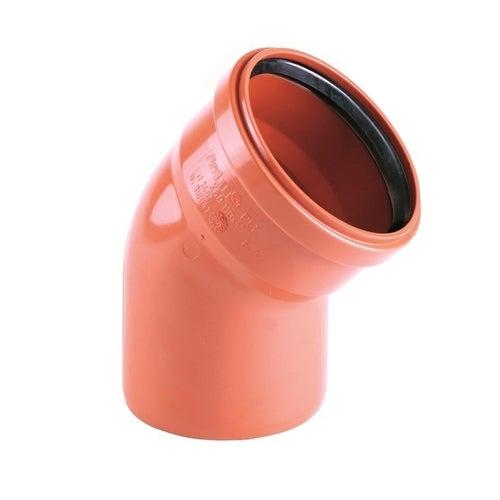 Kolano kanalizacyjne zewnętrzne, PVC fi 110 mm, kąt 45°