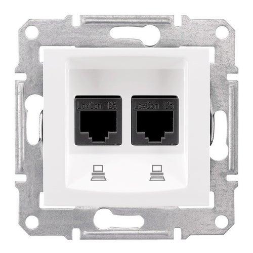 Schneider Sedna biały gniazdo komputerowe podwójne z ramką