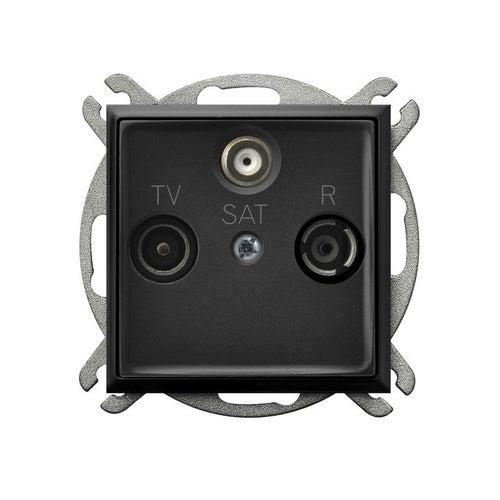 Ospel Aria czarny metalik gniazdo antenowe R-TV-SAT przelotowe