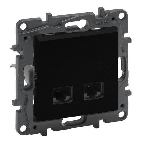 Niloe step czarny gniazdo antenowe F + komputerowe RJ45 kat6